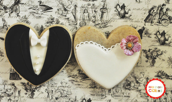 Blossom Bride And Groom Wedding Favor Cookies