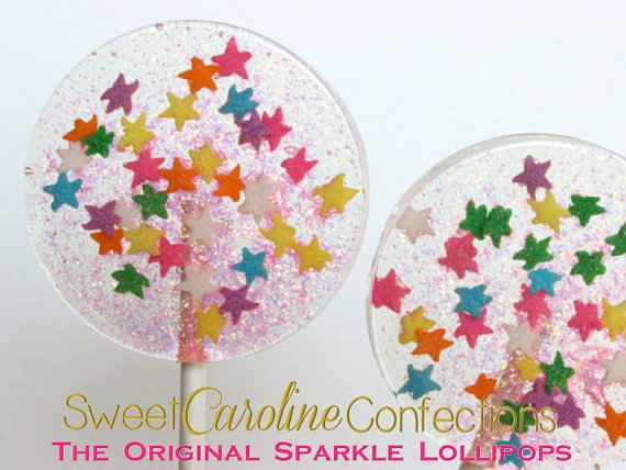 Mariage - Celebration Lollipops, Star Lollipops, Confetti Lollipops, Sparkle Lollipops, Hard Candy Lollipops, Sweet Caroline Confections--Set of Six - New