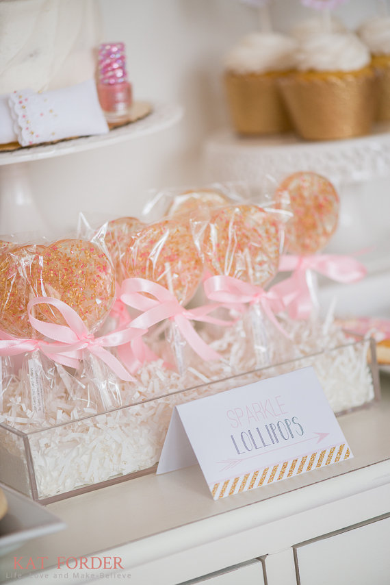 Mariage - Pink and Gold Sparkle Lollipops