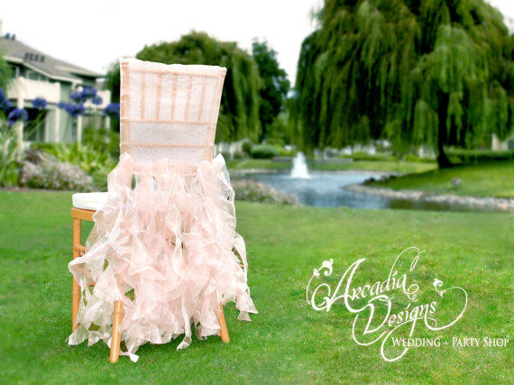 Wedding - Bridal Chair Cover Wedding Ruffle Chair Decoration MADE TO ORDER Willow Slipcover for Event Reception Bridal Shower Wedding Engagement Decor - New