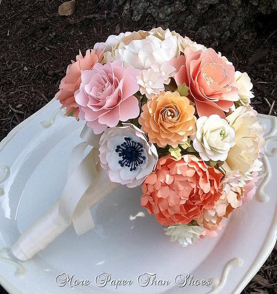 Hochzeit - Custom Made Shabby Chic Paper Flower Bouquet
