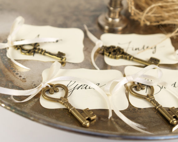 Key Escort Card For Your Wedding Reception Vintage Skeleton Place Favor