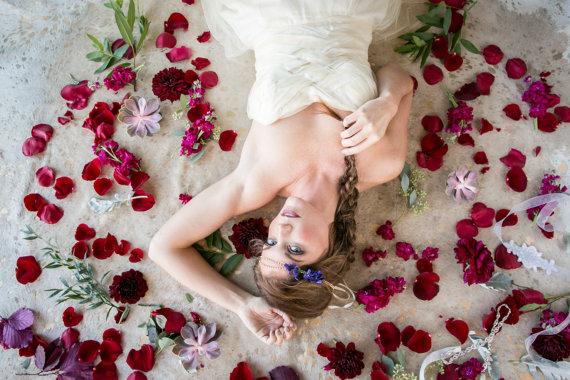 Wedding - Diamond Bridal Headband with Violet Purple Flowers