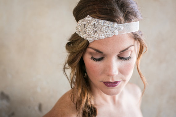 زفاف - Beaded Rhinestone and Ivory Pearls Bridal Headband