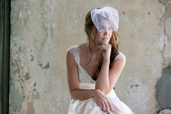 Hochzeit - White Tulle Miniature Birdcage Veil