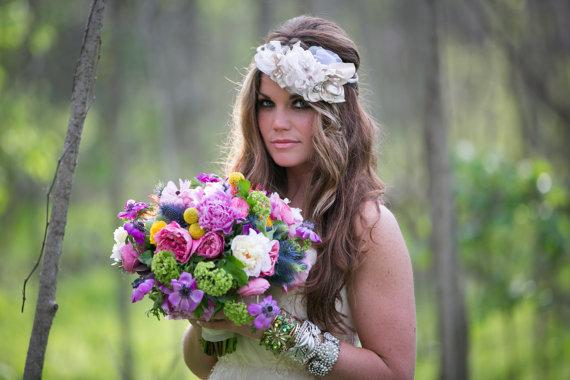 Hochzeit - Blush Statement Crown with Satin & Tulle Blooms