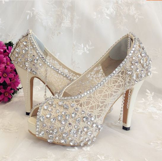 Ivory Shoes Lace Bridal Shoes #2260781