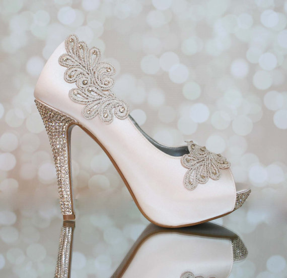 Mariage - Blush Platform Shoes with Blush Lace Accents