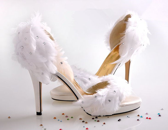 6cd74f4eac2d ... pumps size 34 to · white feather wedding high heel shoes ...