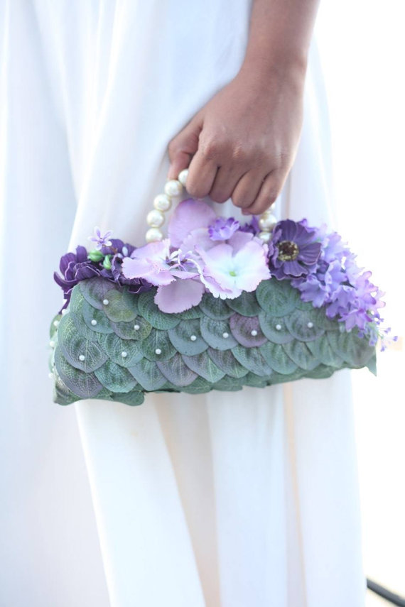 Nozze - Royal Violet Silk Bouquet Bridal Bag