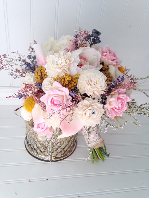 Mariage - Blush Sola Flower And Dried Flower Bouquet