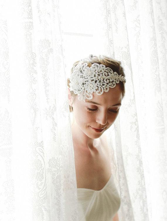 Hochzeit - Elegant white lace headband for wedding