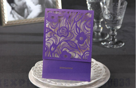 Hochzeit - Purple Wedding Invitations, Laser Cut Invitations, Personalized customized Card - Pack of 50 - New