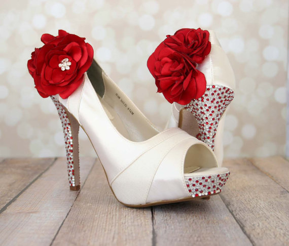 Wedding Shoes   Ivory Platform Peep Toe Wedding Shoes With Red And Silver  Rhinestones On Heel And Platform Red Trio Flowers On Ankle   New