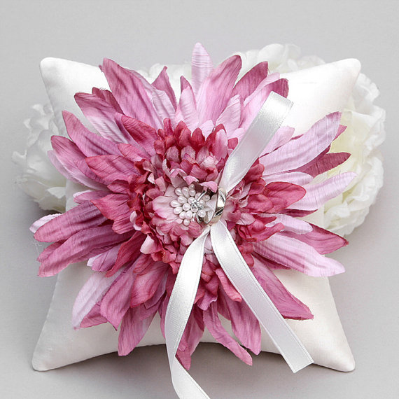 Wedding - Ring pillow - wedding ring bearer pillow, flower ring pillow, pink ring pillow - Evelyn - New