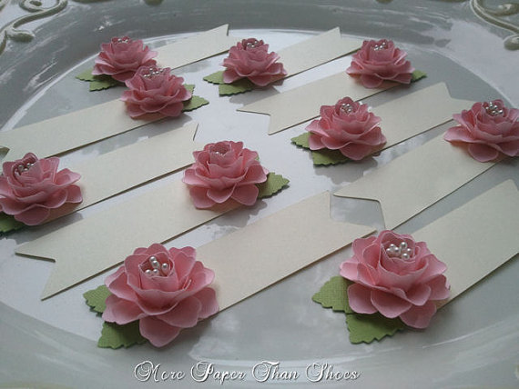 Paper flower place cards escort cards pink weddings table paper flower place cards escort cards pink weddings table decorations set of 100 made to order new mightylinksfo