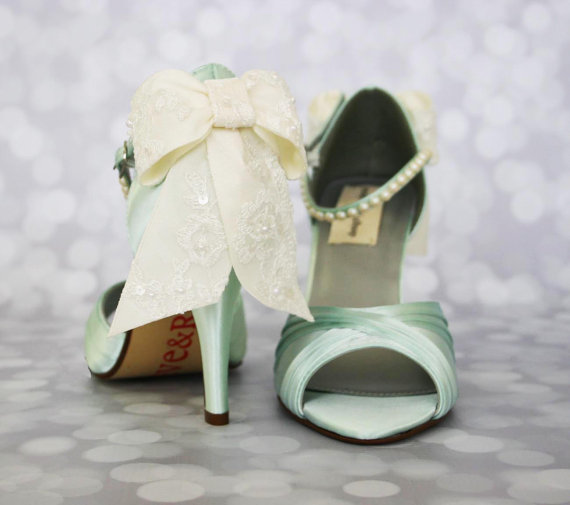 Hochzeit - Wedding Shoes -- Mint Peep Toe Wedding Shoes with Ivory Lace Overlay Bow and Pearl Covered Ankle Strap - New