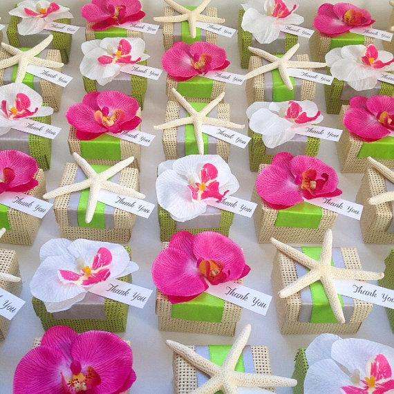 Organic Woven Favor Box With Orchid Accent Tropical Wedding Favor