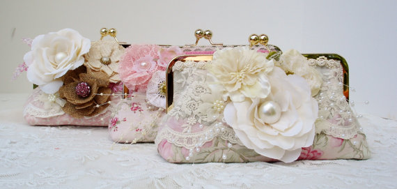 Hochzeit - Pink Bridesmaid Clutch / Shabby Chic Handbag / Vintage Wedding / Shabby Chic Bride / Farmhouse Wedding - New