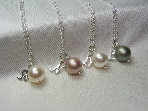 Pearl Bridesmaid Necklace Bridesmaid Jewelry Pearl Initial