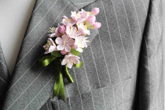 Свадьба - Weddings. Buttonhole Boutonniere for men. Polymer clay flower. - New