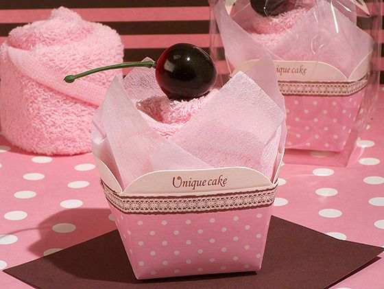 12 sweet treats pink towel cupcake bridal shower baby shower favors