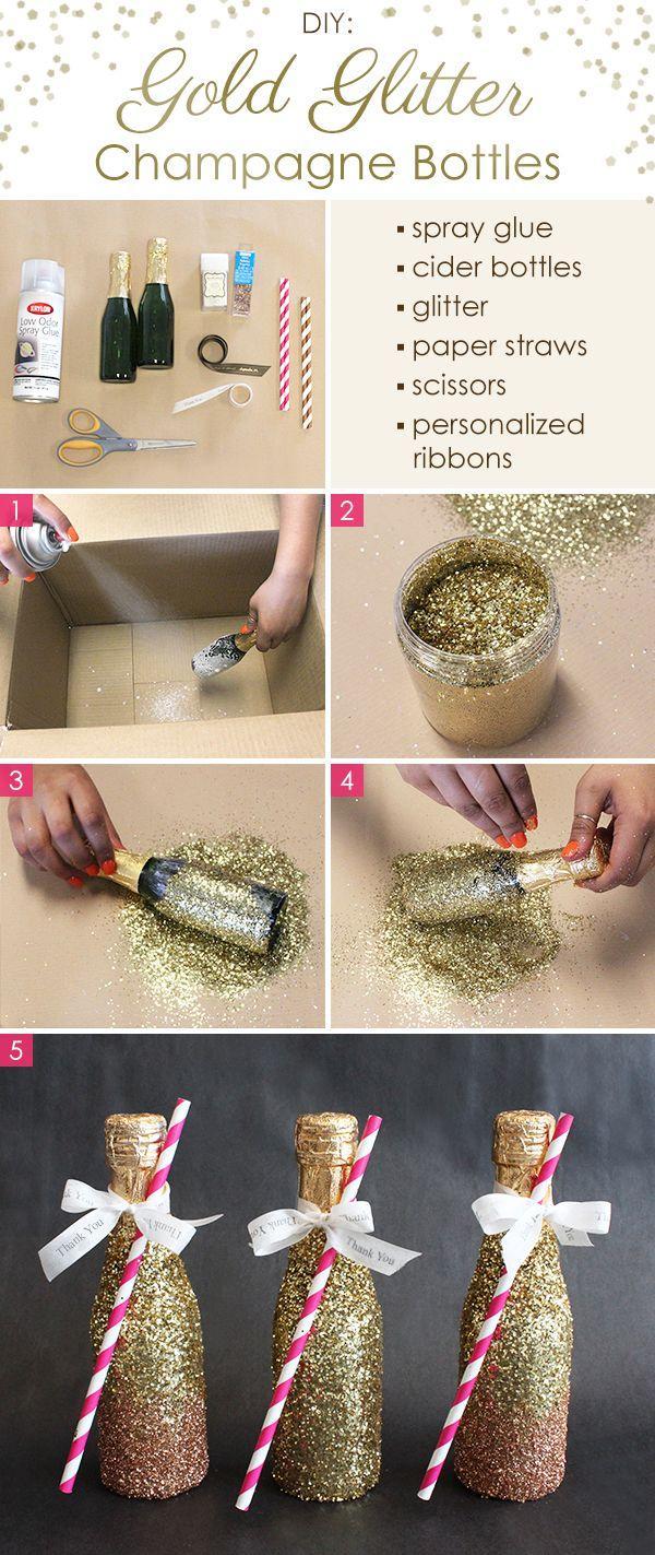 زفاف - DIY: Gold Glitter Champagne Bottles