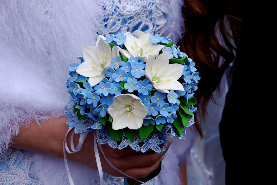 Forget Me Not Wedding Invitations: Make To Order. Wedding Bouquet With White Ornithogalum And