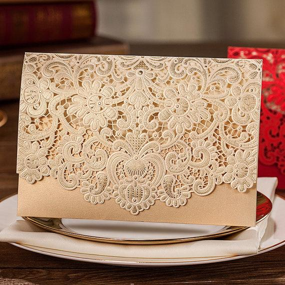 زفاف - 80 Pcs Golden Lace Wedding Invitation With Royal Floral Design, Printable Laser Cut Wedding Invitation Cards, Ship Worldwide 3-5 Days - New