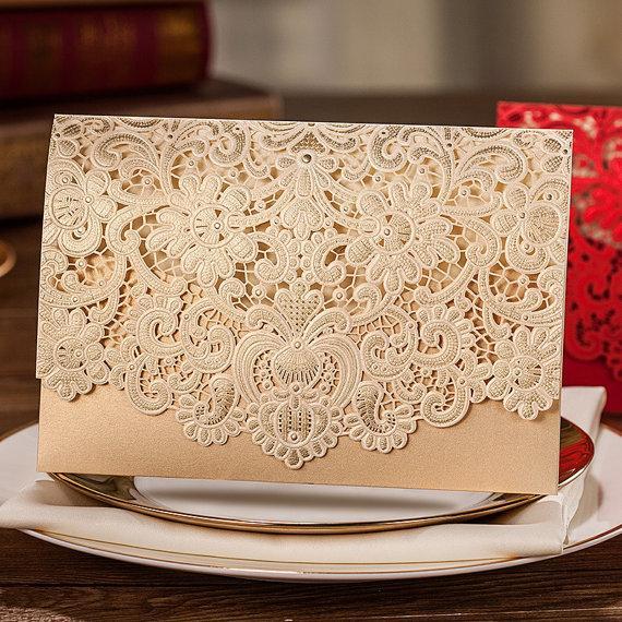 Свадьба - 80 Pcs Golden Lace Wedding Invitation With Royal Floral Design, Printable Laser Cut Wedding Invitation Cards, Ship Worldwide 3-5 Days - New