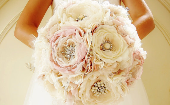 Fabric Brooch Bouquet, Bridal Bouquet, Fabric Flower Bouquet ...