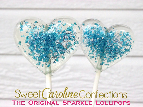 Heart Lollipops, Blue Wedding Favor, Party Favors, Baby Shower Favors,  Heart Candy, Lollipops, Sweet Caroline Confections   Set Of Six   New