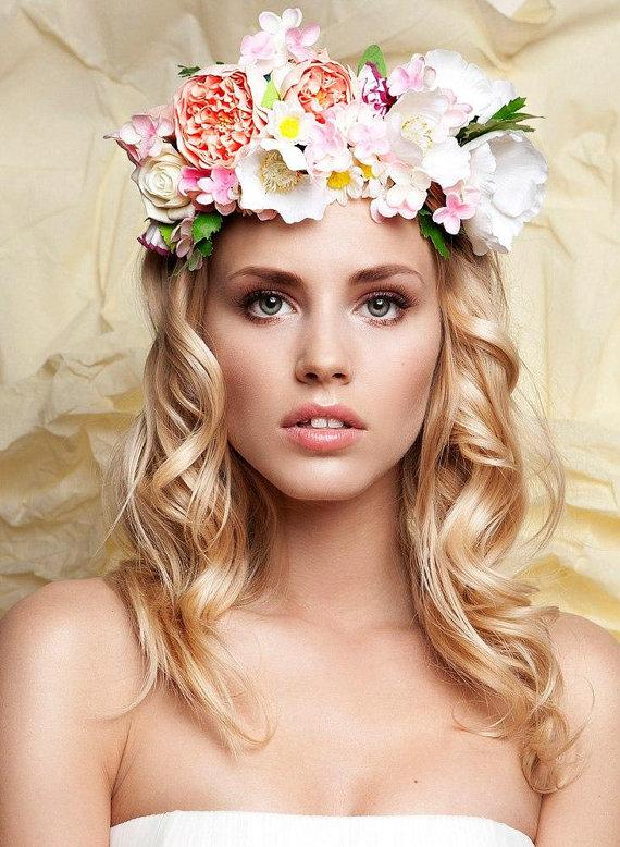 Свадьба - Bridal Floral Wreath Handmade Flower Crown Headband Hairpiece made  from clay - New