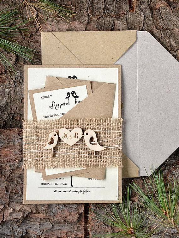 Wedding - Custom listing (20) Rustic Wedding Invitation, Birds Invitation, Burlap Wedding Invitations , Wood Wedding Invitation,  4lovepolkadots - New
