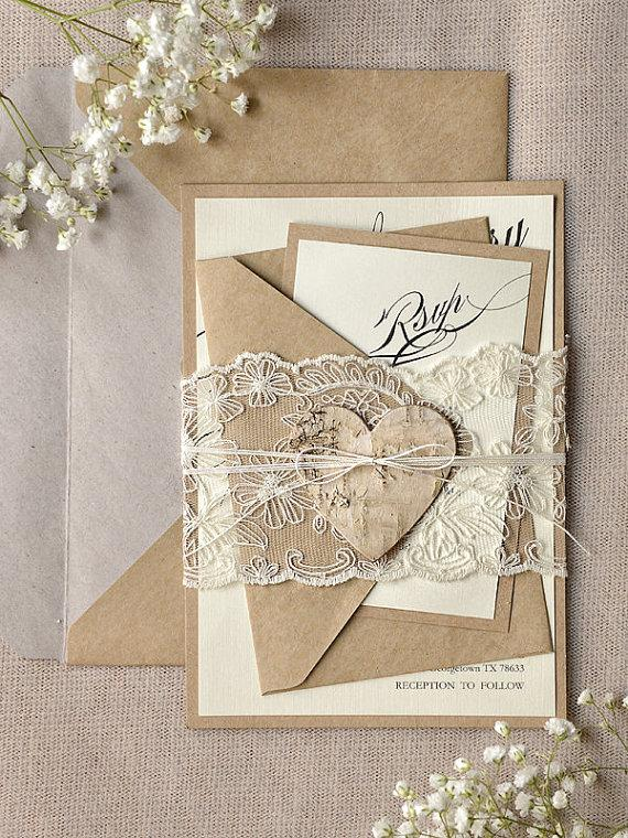 Custom Listing (100) Rustic Lace Wedding Invitation, Calligraphy Wedding Invitations, Recycled ...