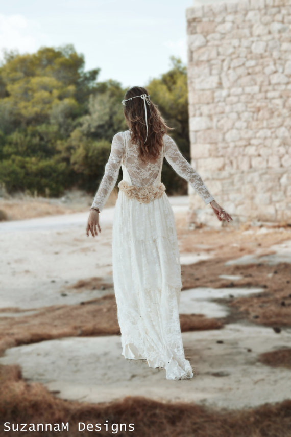 Ivory Lace Bohemian Wedding Dress Long Bridal Wedding Gown Handmade ...