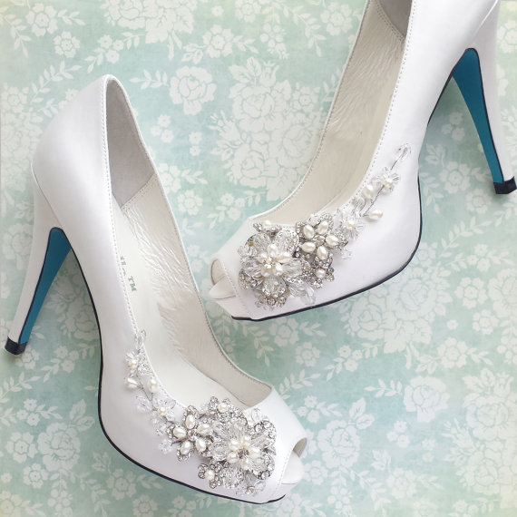 Düğün - Something Blue Wedding Shoes with Handmade Crystal Blossom and Beaded Vine White or Ivory Peep Toe Pumps - New