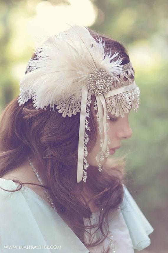 Mariage - Feather & Rhinestone Gatsby Style Headpiece - New