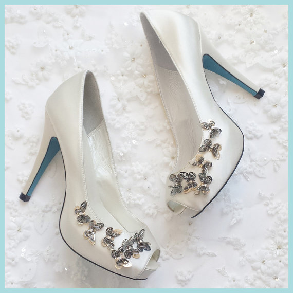 Silver Butterfly Embellished Something Blue Sole Ivory Peep Toe Bridal  Wedding Shoes Pumps   New