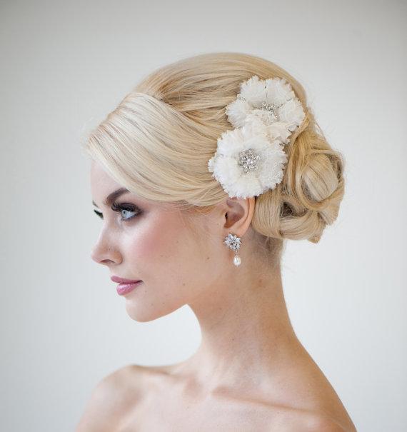 Wedding - Bridal Silk Flower Hair Clips, Wedding Hair Accessory, Bridal fascinator - COSETTE - New