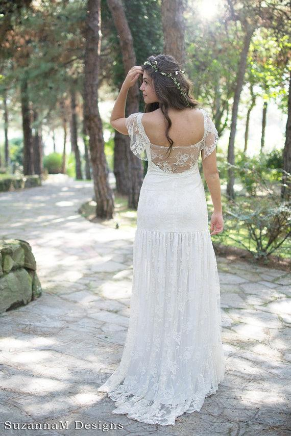 Cream Bohemian Wedding Dress Beautiful Lace Wedding Long Gown Boho ...