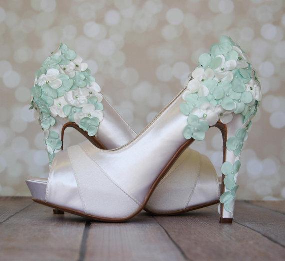 Свадьба - Wedding Shoes -- Light Ivory Platform Wedding Shoes with Light Ivory and Mint Green Satin Flowers on the Heel - New