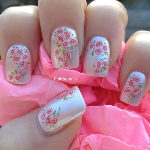 Свадьба - Nail WRAPS Nail Art Water Transfers Decals -  Peach Tiny Rose Buds Nails YD076 - New