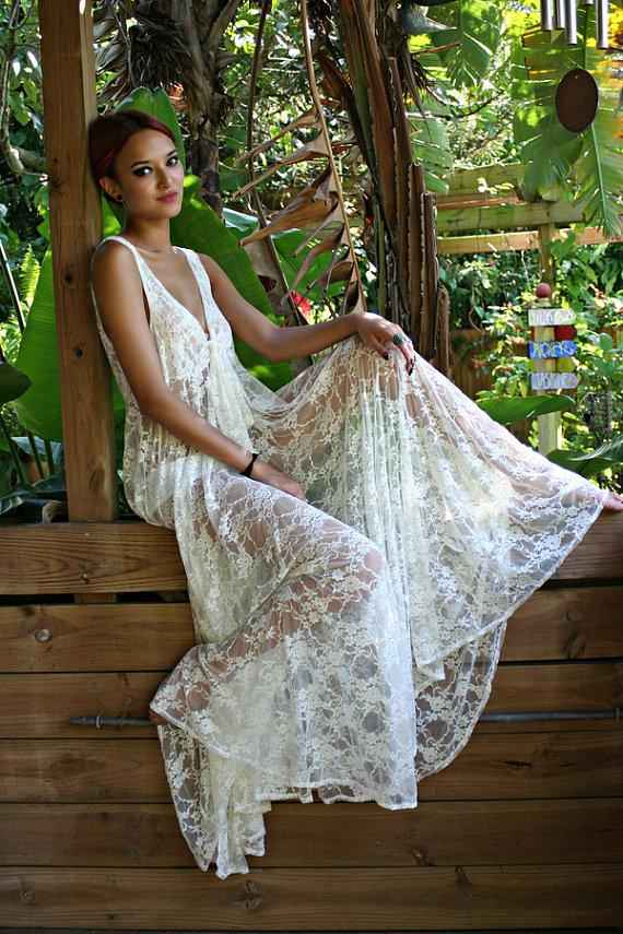 Wedding - Bridal Lingerie Sheer Lace Nightgown Tie Front Waterfall Gown Wedding Sleepwear Honeymoon White Ivory Lace - New