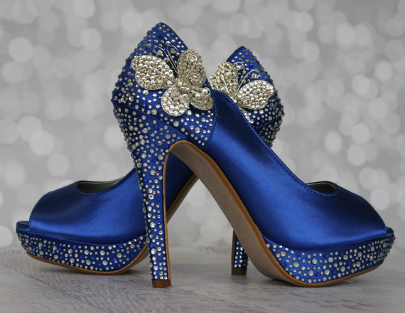 Hochzeit - Wedding Shoes -- Royal Blue Peep Toe Wedding Shoes with Silver and Blue Rhinestones  and Silver Rhinestone Butterflies on the Ankle - New