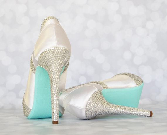 3ae84ee409ef12 Wedding Shoes -- White Platform Peep Toe Wedding Shoes with Silver  Rhinestone Heel and Pleats and Blue Painted Sole - New
