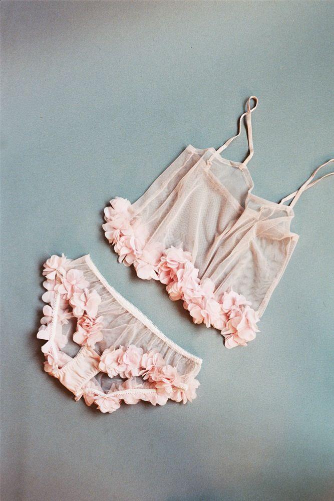 Свадьба - Sakura – Sheer Pink Tulle Cami With Petal Trim