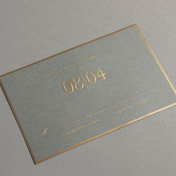 Vera Wang Engraved Gold Bordered Light Grey Invitation With