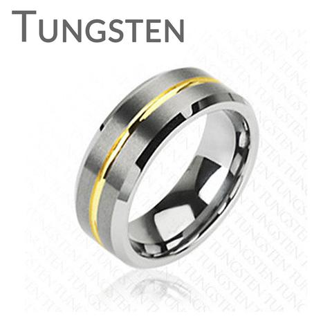 Wedding - Energy - Solid Flat Band with Golden Groove Brushed Silver and Gold Tungsten Carbide Ring