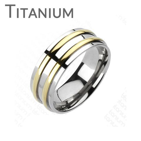 Mariage - Othello - Two Golden Bands Solid Titanium Traditional Wedding Band